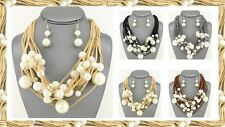 Multi Row Layer Layered Faux Suede Velvet Strand Chunky Pearl Bead Necklace Set