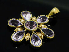 P101 Genuine 9ct Solid Yellow Gold Natural Amethyst Daisy Pendant Flower Blossom