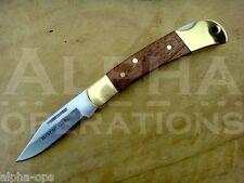 "Winchester Folding Pocket Knife 2.5"" Brass Wood Handle Lock Back Stainless Steel"