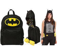 DC COMICS BATMAN Suit-Up Backpack w/ HOOD School Day Book Bag W/Utility Belt NEW