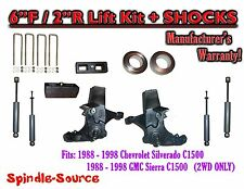 "1988 -1998 Chevy / GMC C15 C1500 C2500 2WD 6"" / 2"" Spindle Lift Kit + SHOCKS"