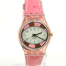 Vintage Ladies Swatch Watch Swiss Made Small 90s Pink Oval Gold Cute A404/38.1