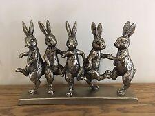 Bronze Dancing Hares Ornament Figurine Rabbit Animal Vintage Gift