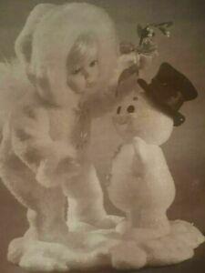 """Beneath the Mistletoe Snow Baby 10"""" & Snowman 5"""" Porcelain Doll Ashton Drake"""