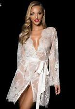 Honey birdette Love Lace White Ivory Robe $4 Express Lingerie Sheer Bridal Sexy