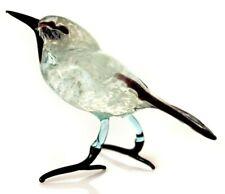 Wagtail Glass Figurine, Blown Glass Art, White and Black Clear Bird Miniature