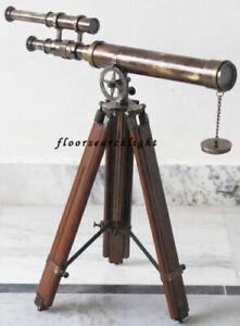 "Antique 18"" Telescope Spyglass Nautical Brass Desk With Adjustable Wooden Tripod"