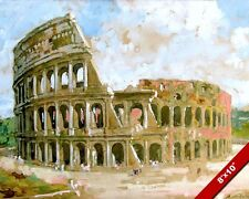 COLOSSEUM OF ANCIENT ROME ITALY WATERCOLOR PAINTING ROMAN ART REAL CANVASPRINT