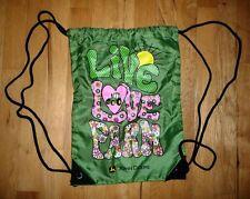 John Deere LIVE LOVE FARM Girls Backpack Book Bag Draw String Nylon Bag