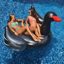 "Swimline 75"" Giant Black Swan Inflatable Animal Bird Ride On Swimming Pool Float"