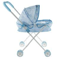 Passeggino portatile per bambola Passeggino blu Pretend Gioca giocattoli,