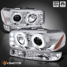 2000-2006 GMC Yukon XL Halo Projector Headlights+Parking Bumper Lamp Chrome