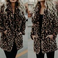 Outwear Overcoat Winter Women's Coat Faux Fur Cardigans Jacket Leopard Print