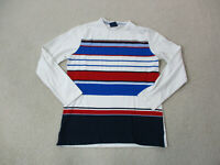 VINTAGE Tommy Hilfiger Shirt Womens Large White Red Striped Long Sleeve Ladies *