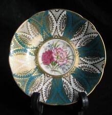 VTG RARE Paragon Fine Bone China Saucer Teal Turquoise Gold White w/Flowers