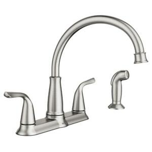 MOEN Brecklyn 2-Handle Kitchen Faucet W/Side Sprayer Spot Resist Stainless