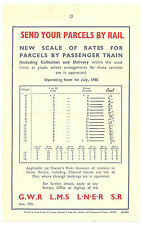 SEND YOUR PARCELS BY RAIL LEAFLET/POSTER JUNE 1935 WITH RATES FOR PARCELS