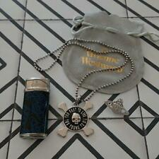 Vivienne Westwood T00 Fast To Live Skull Necklace lighter and pin badge Set