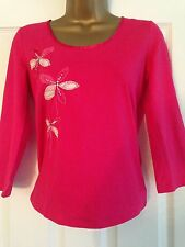 BNWT NEXT Pink 3/4 Sleeve Embroidered Flower Embellished Top Size 8