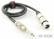 """3ft. Kirlin XLR 3-Pin Female / 1/4"""" Mono Male Shielded OFC Microphone Cable"""