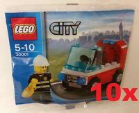 LEGO®  10x CITY 30001 POLYBAG - Feuerwehrmann mit Auto - NEU / OVP