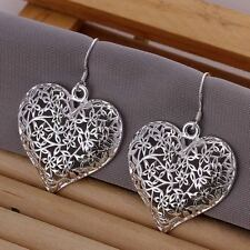 beautiful Fashion Silver plated Cute women charm Heart Earring Love jewelry NEW