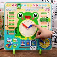 Wooden Educational Toy Children School Calendar Clock Weather Learning Board