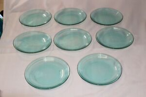 Vintage Jardiniere Clear Turquoise Arcoroc France Glass Lunch Plates Set Of 8