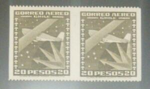 A) 1945, CHILE, AIRPLANE & SOUTHERN CROSS, 20P OLIVE, IMPERF BETWEEN AND VERTICA