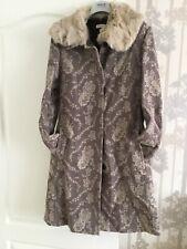 Max Mara MAX&Co Beautiful Rabbit Fur Collar Beige/Lilac Mix Ladies Coat Size 10
