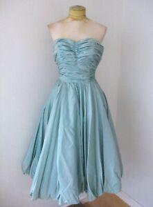 Vtg 50s rockabilly prom dress jadeite green taffeta formal swing bustier XS