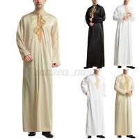 Mens Muslim Clothing Embroidery Long Sleeve Thobe Islamic Jubba Tunic Top Kaftan