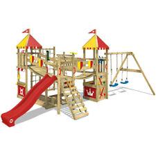 Aire de jeux Maison en bois avec balançoire et toboggan WICKEY Smart Queen rouge