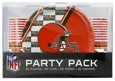 NFL Cleveland Browns Disposable 80 Piece Party Pack Plates, Cups, Forks, Napkins