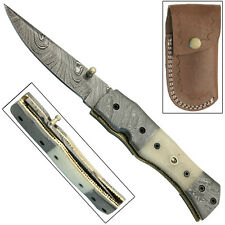 Dakota Lowlands Liner Lock Folding Damascus Steel Hand Forged Pocket Knife