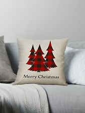 "Decorative Plaid Christmas Tree Throw Pillow Cover Case 18x18"" **US SELLER!"