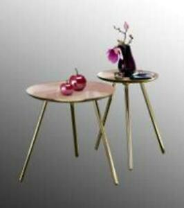 New Home Decor Modern Nest of Tables Set of 2 Glossy Blush Surface & Golden legs