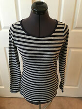 BODEN Heathered Gray w/ Navy Blue Stripes Long Sleeve Cotton Top US SIze 6