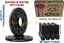 Pair Of 12MM Hub Centric Wheel Spacers 5x100 5x112 Black Extended Bolts 14x1.5