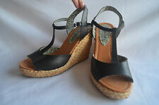 Mellow Yellow Dark Brown Sandals - EU 37 - UK 4 - USA 5.5 - Esparto Wedge Heels