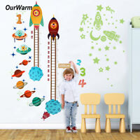 OurWarm Planets Space Rocket Height Chart Measure Wall Sticker Kids Room Decor