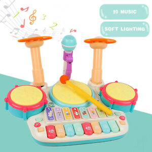 5 In 1 Kids Drum Kit Play Set Baby Toddlers Musical Toy Instrument w/ Microphone