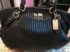 Authentic Coach Madison Gathered Sophia Satchel Black handbag