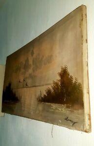 Antique Old Original Picture Canvas Oil Painting Art Seacape Signed 79cm x 40cm