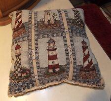 Blue Beige Lighthouse Print Decorative Pillow  17 x 17