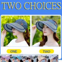 Women Summer Sun Hat Sun Protection Breathable Foldable Canvas Cap Beach Hats