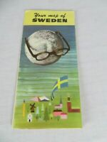1964 Your Map of Sweden Travel Swedish Tourist Traffic Association