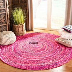Natural Indian Hand Braided Bohemian Decor look Cotton Area Rug Round Boho Rugs