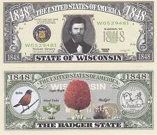 Wisconsin WI State Quarter Novelty Money Bill Note #131
