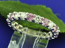 2.77 ct 14k Solid White Gold Natural Diamond & Pink Sapphire Eternity Ring USA